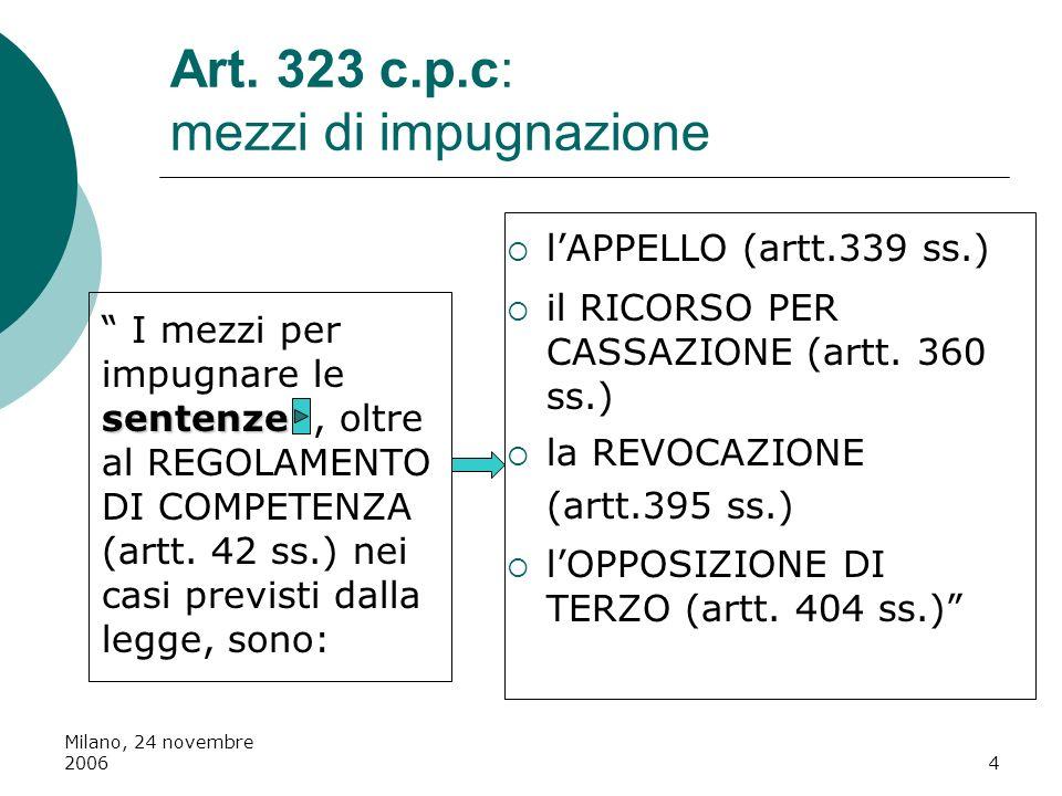 Milano, 24 novembre 20064 Art. 323 c.p.c: mezzi di impugnazione sentenze I mezzi per impugnare le sentenze, oltre al REGOLAMENTO DI COMPETENZA (artt.