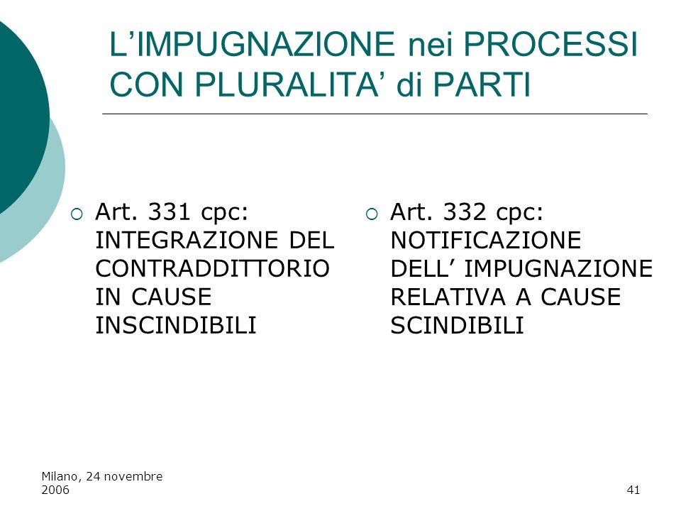 Milano, 24 novembre 200641 LIMPUGNAZIONE nei PROCESSI CON PLURALITA di PARTI Art. 331 cpc: INTEGRAZIONE DEL CONTRADDITTORIO IN CAUSE INSCINDIBILI Art.