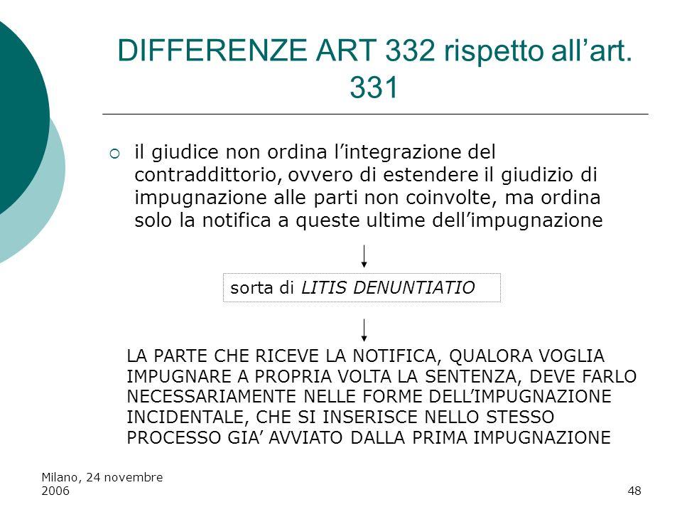 Milano, 24 novembre 200648 DIFFERENZE ART 332 rispetto allart. 331 il giudice non ordina lintegrazione del contraddittorio, ovvero di estendere il giu