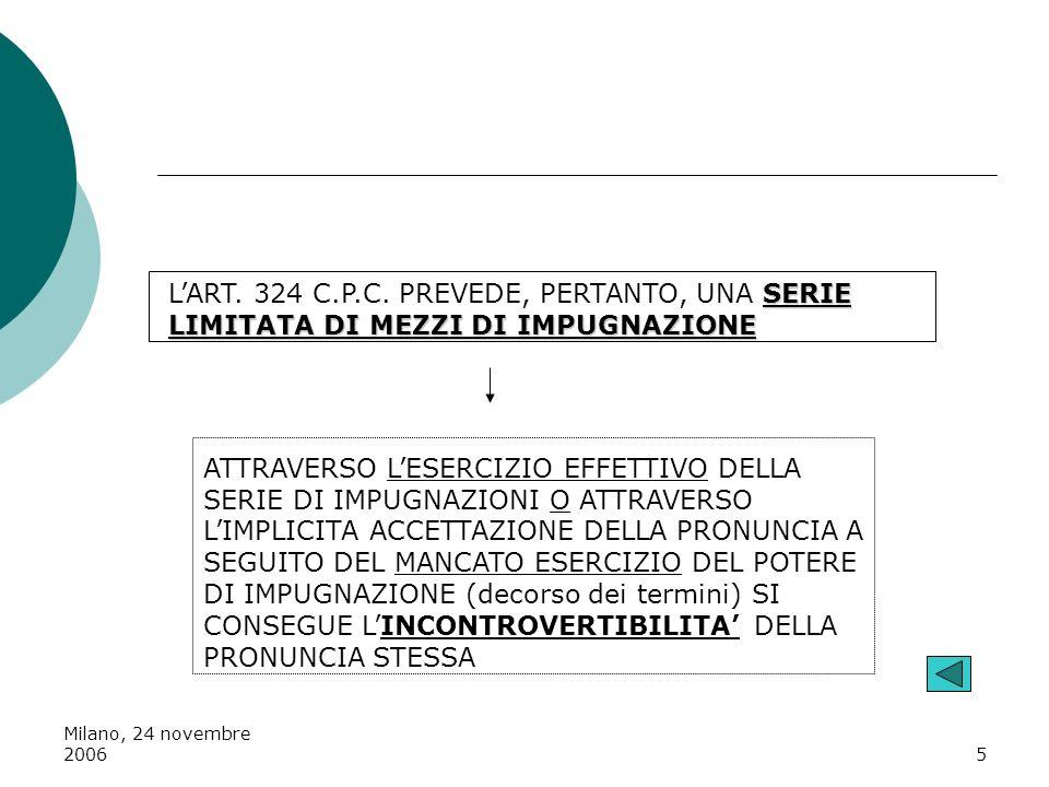 Milano, 24 novembre 20065 SERIE LIMITATA DI MEZZI DI IMPUGNAZIONE LART. 324 C.P.C. PREVEDE, PERTANTO, UNA SERIE LIMITATA DI MEZZI DI IMPUGNAZIONE ATTR