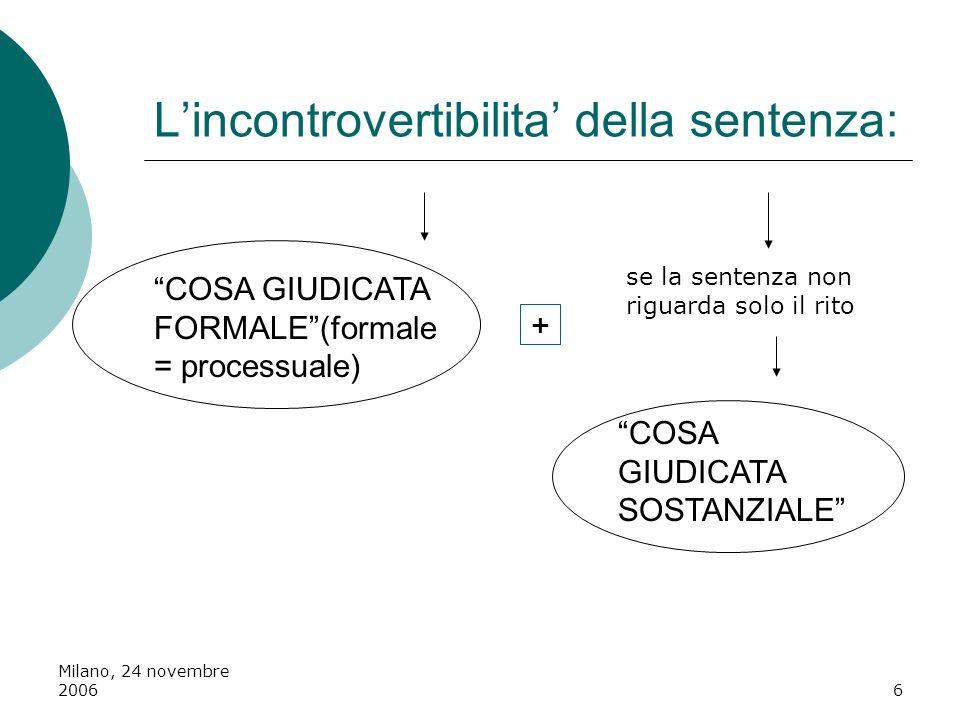 Milano, 24 novembre 20066 Lincontrovertibilita della sentenza: COSA GIUDICATA FORMALE(formale = processuale) se la sentenza non riguarda solo il rito