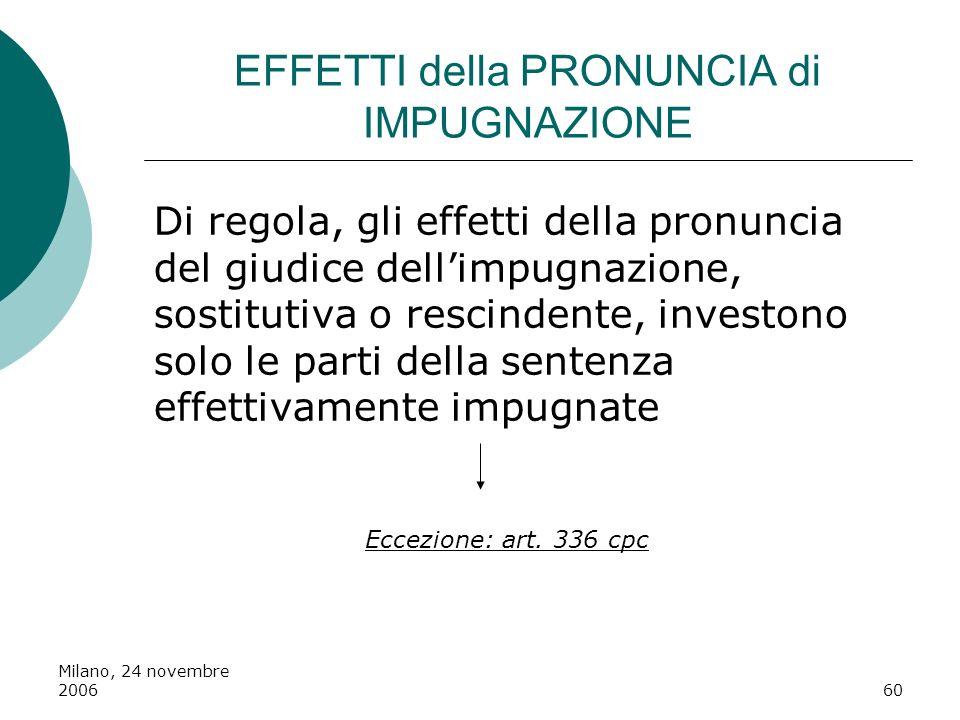 Milano, 24 novembre 200660 EFFETTI della PRONUNCIA di IMPUGNAZIONE Di regola, gli effetti della pronuncia del giudice dellimpugnazione, sostitutiva o