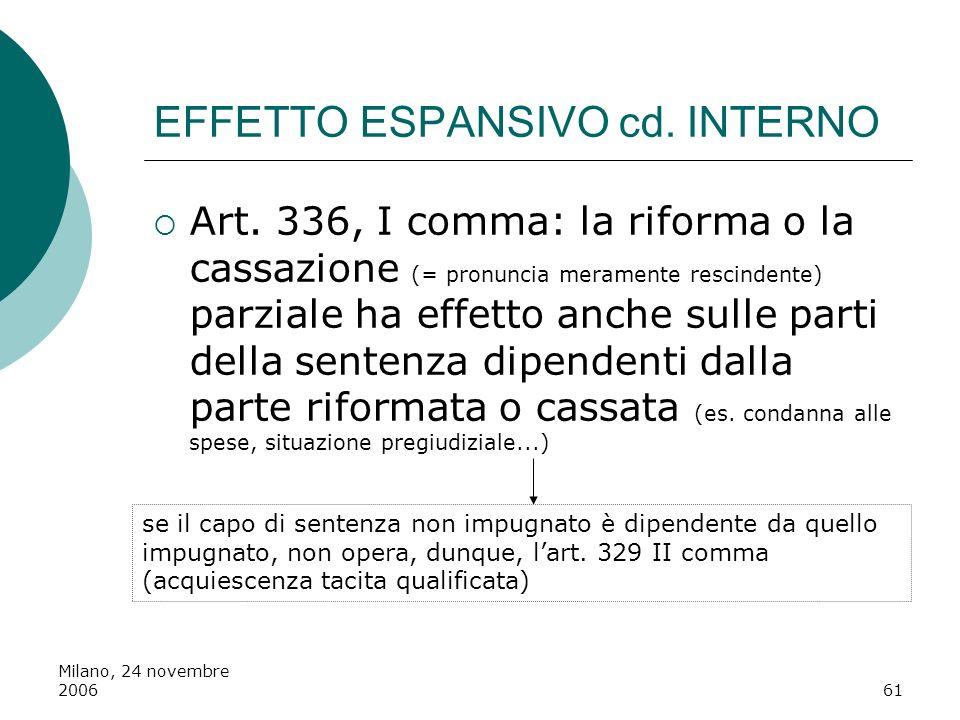 Milano, 24 novembre 200661 EFFETTO ESPANSIVO cd. INTERNO Art. 336, I comma: la riforma o la cassazione (= pronuncia meramente rescindente) parziale ha