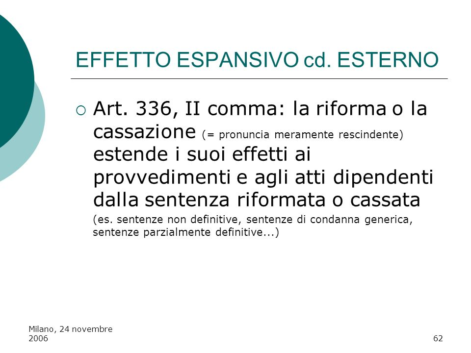 Milano, 24 novembre 200662 EFFETTO ESPANSIVO cd. ESTERNO Art. 336, II comma: la riforma o la cassazione (= pronuncia meramente rescindente) estende i