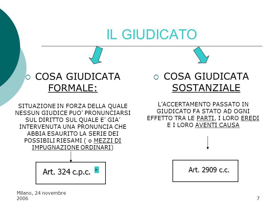 Milano, 24 novembre 20067 IL GIUDICATO COSA GIUDICATA FORMALE: SITUAZIONE IN FORZA DELLA QUALE NESSUN GIUDICE PUO PRONUNCIARSI SUL DIRITTO SUL QUALE E