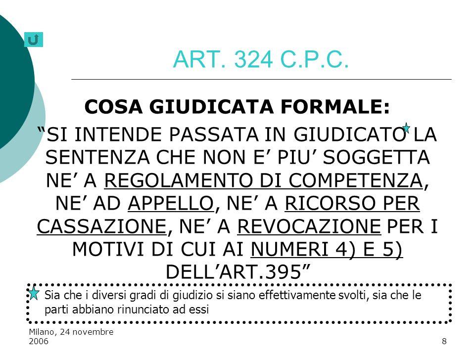 Milano, 24 novembre 20068 ART. 324 C.P.C. COSA GIUDICATA FORMALE: SI INTENDE PASSATA IN GIUDICATO LA SENTENZA CHE NON E PIU SOGGETTA NE A REGOLAMENTO