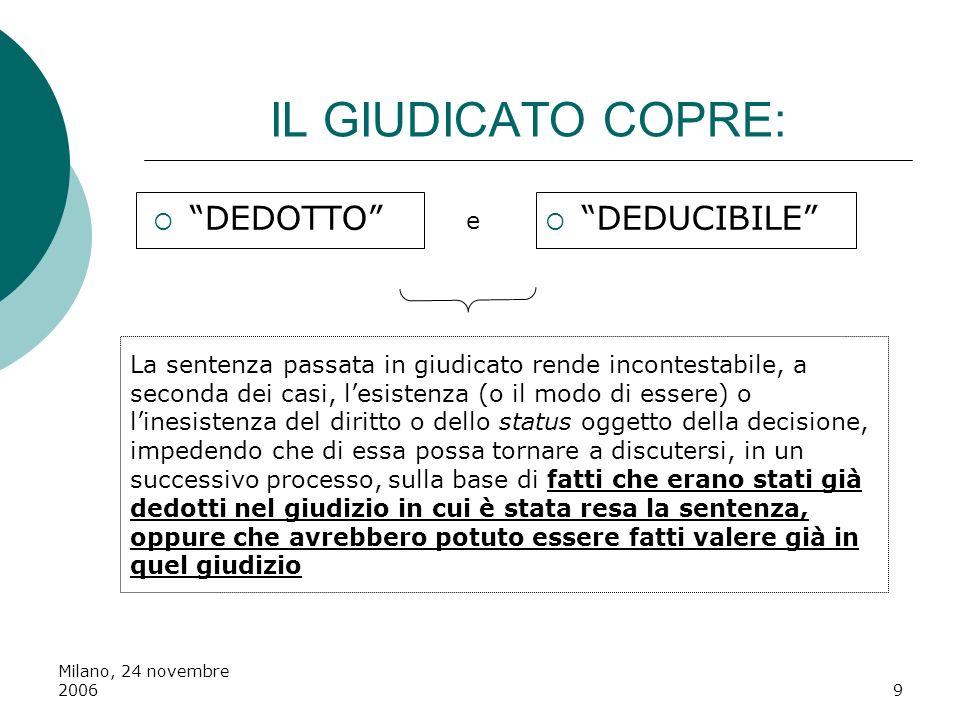 Milano, 24 novembre 20069 IL GIUDICATO COPRE: DEDOTTO DEDUCIBILE e La sentenza passata in giudicato rende incontestabile, a seconda dei casi, lesisten