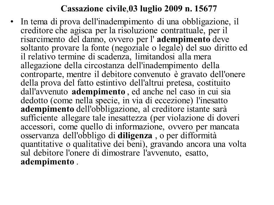 Cassazione civile,03 luglio 2009 n. 15677 In tema di prova dell'inadempimento di una obbligazione, il creditore che agisca per la risoluzione contratt
