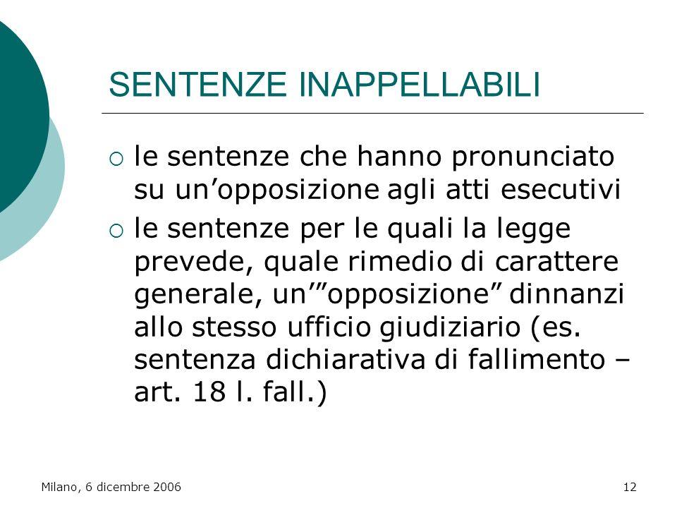 Milano, 6 dicembre 200612 SENTENZE INAPPELLABILI le sentenze che hanno pronunciato su unopposizione agli atti esecutivi le sentenze per le quali la le
