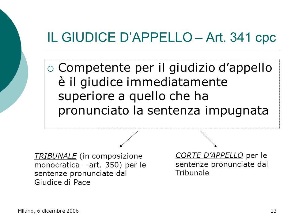 Milano, 6 dicembre 200613 IL GIUDICE DAPPELLO – Art. 341 cpc Competente per il giudizio dappello è il giudice immediatamente superiore a quello che ha