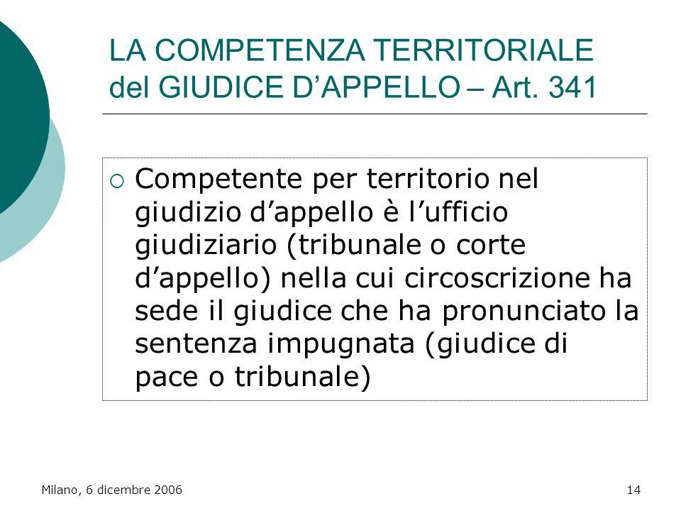 Milano, 6 dicembre 200614 LA COMPETENZA TERRITORIALE del GIUDICE DAPPELLO – Art. 341 Competente per territorio nel giudizio dappello è lufficio giudiz