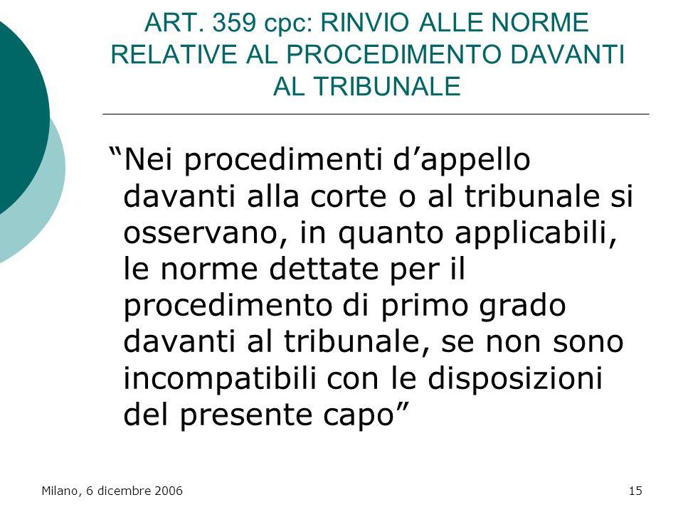 Milano, 6 dicembre 200615 ART. 359 cpc: RINVIO ALLE NORME RELATIVE AL PROCEDIMENTO DAVANTI AL TRIBUNALE Nei procedimenti dappello davanti alla corte o