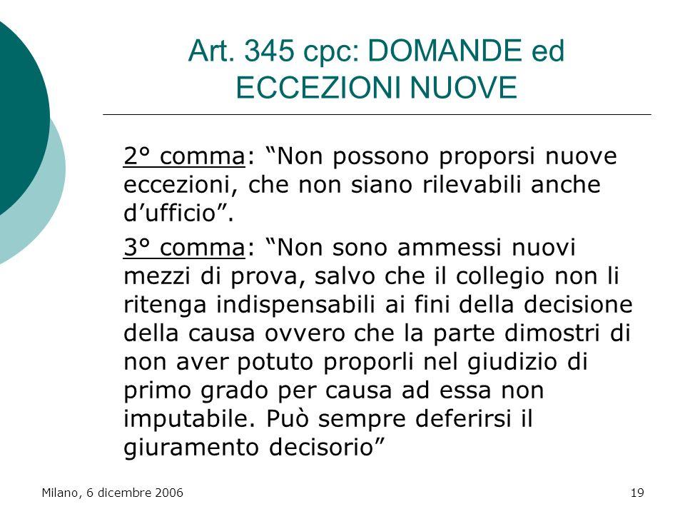 Milano, 6 dicembre 200619 Art. 345 cpc: DOMANDE ed ECCEZIONI NUOVE 2° comma: Non possono proporsi nuove eccezioni, che non siano rilevabili anche duff