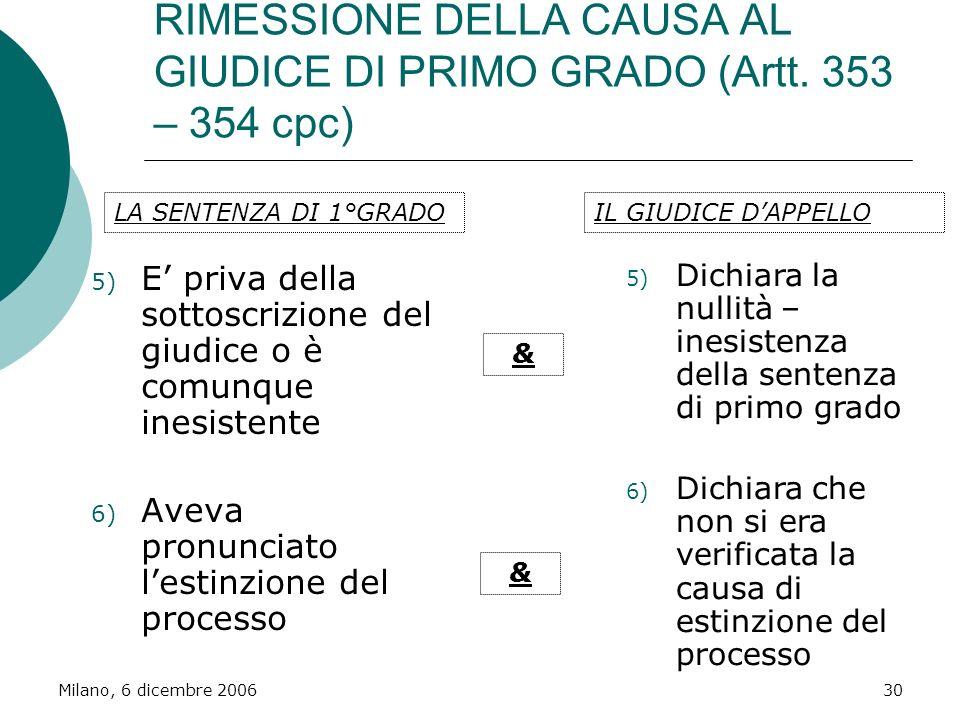 Milano, 6 dicembre 200630 RIMESSIONE DELLA CAUSA AL GIUDICE DI PRIMO GRADO (Artt. 353 – 354 cpc) 5) E priva della sottoscrizione del giudice o è comun