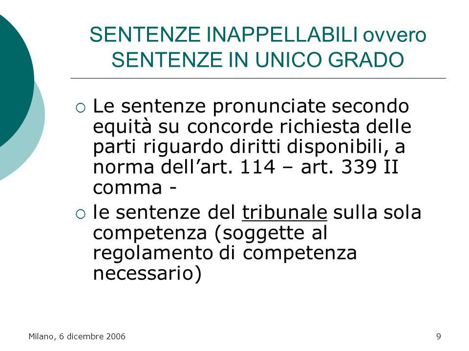 Milano, 6 dicembre 20069 SENTENZE INAPPELLABILI ovvero SENTENZE IN UNICO GRADO Le sentenze pronunciate secondo equità su concorde richiesta delle part