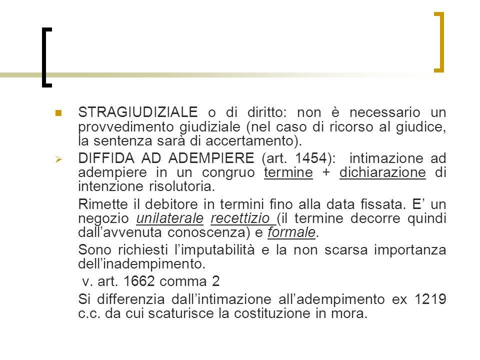 STRAGIUDIZIALE o di diritto: non è necessario un provvedimento giudiziale (nel caso di ricorso al giudice, la sentenza sarà di accertamento).