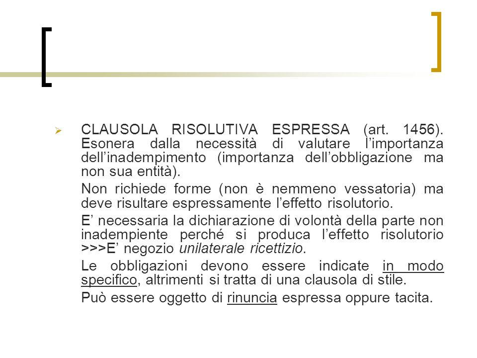 CLAUSOLA RISOLUTIVA ESPRESSA (art.1456).