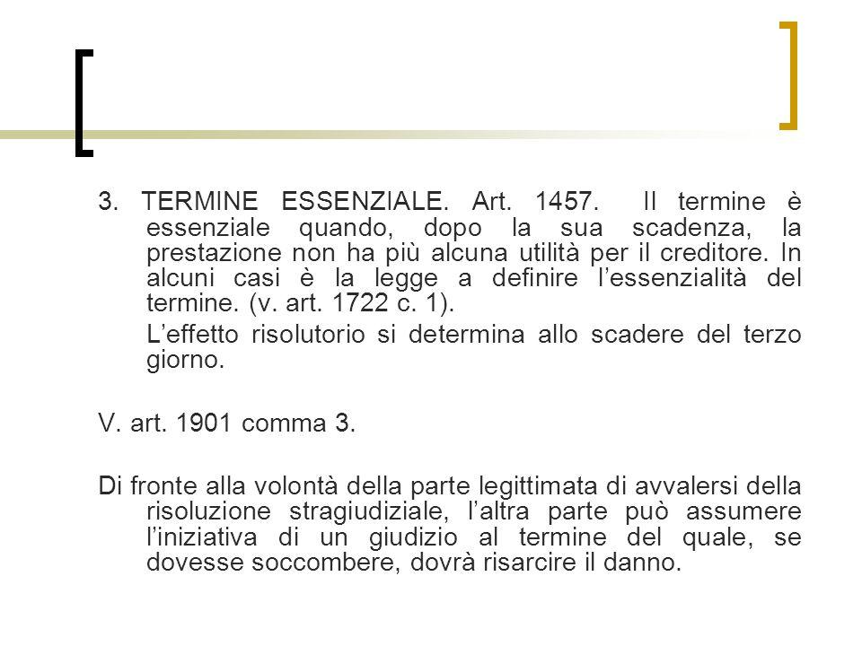 3.TERMINE ESSENZIALE. Art. 1457.