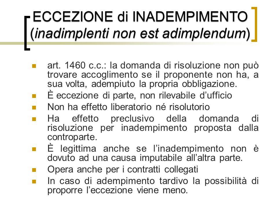 art. 1460 c.c.: la domanda di risoluzione non può trovare accoglimento se il proponente non ha, a sua volta, adempiuto la propria obbligazione. È ecce