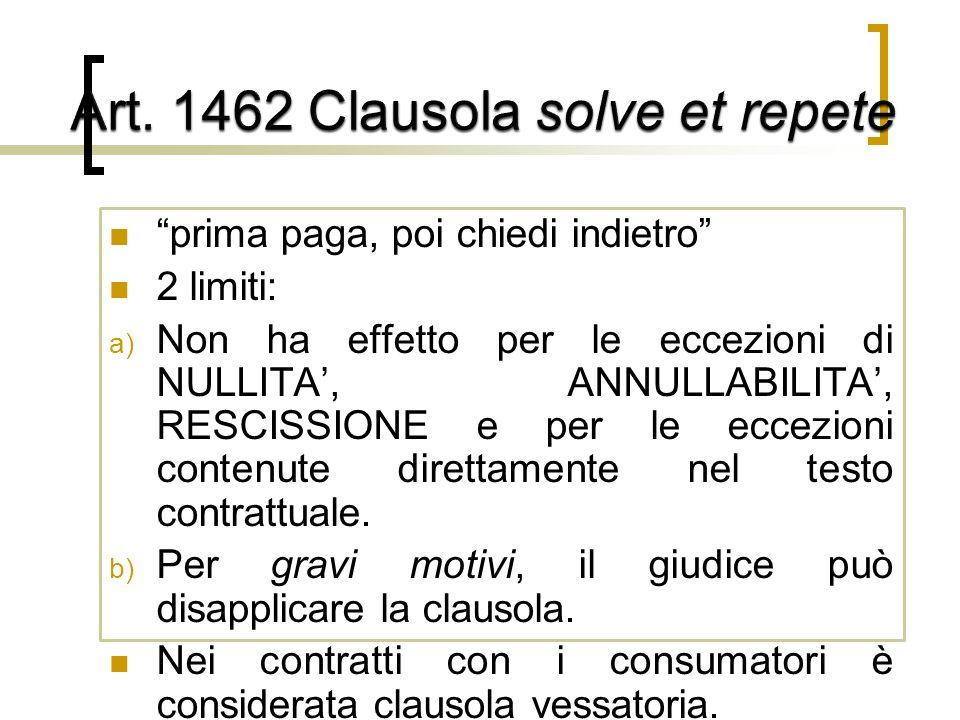 prima paga, poi chiedi indietro 2 limiti: a) Non ha effetto per le eccezioni di NULLITA, ANNULLABILITA, RESCISSIONE e per le eccezioni contenute direttamente nel testo contrattuale.