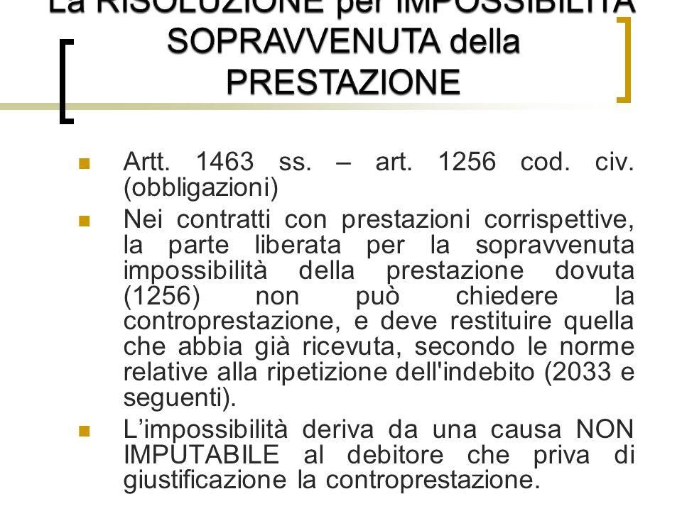 Artt.1463 ss. – art. 1256 cod. civ.