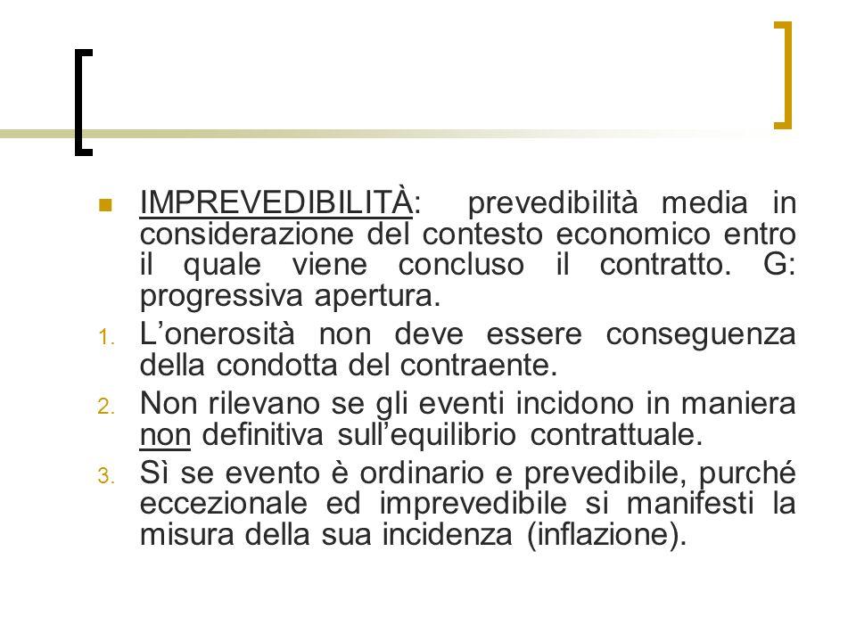 IMPREVEDIBILITÀ: prevedibilità media in considerazione del contesto economico entro il quale viene concluso il contratto.