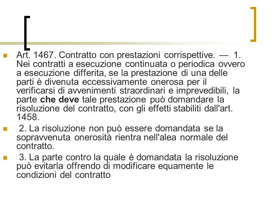 Art.1467. Contratto con prestazioni corrispettive.