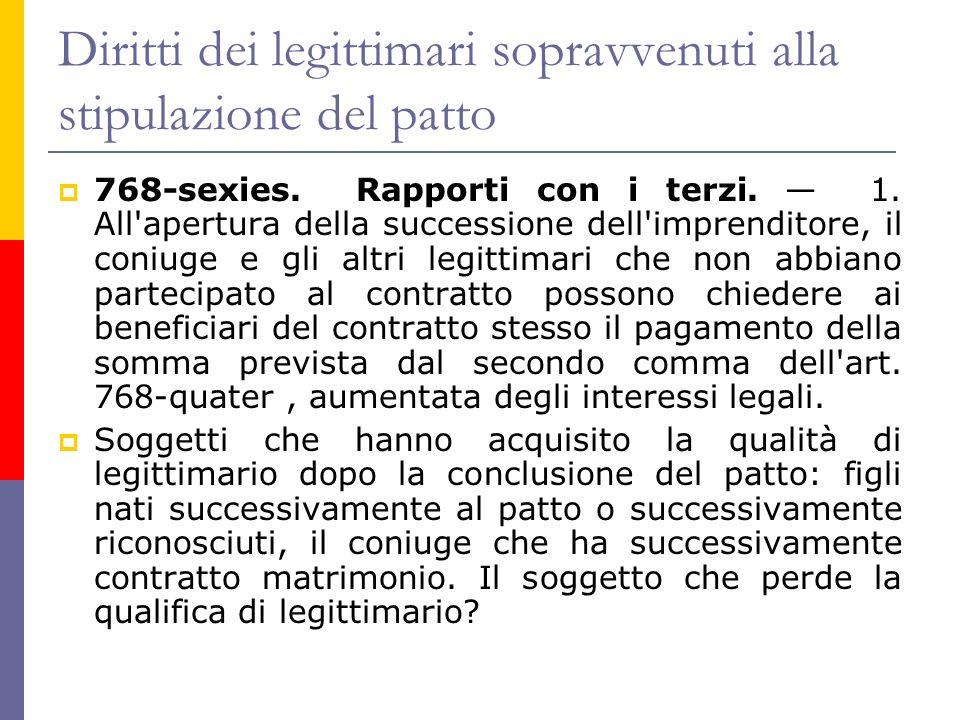 Diritti dei legittimari sopravvenuti alla stipulazione del patto 768-sexies.