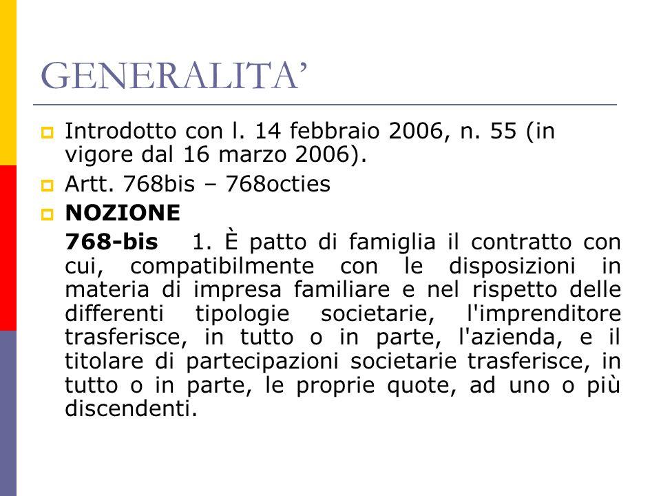 GENERALITA Introdotto con l. 14 febbraio 2006, n.