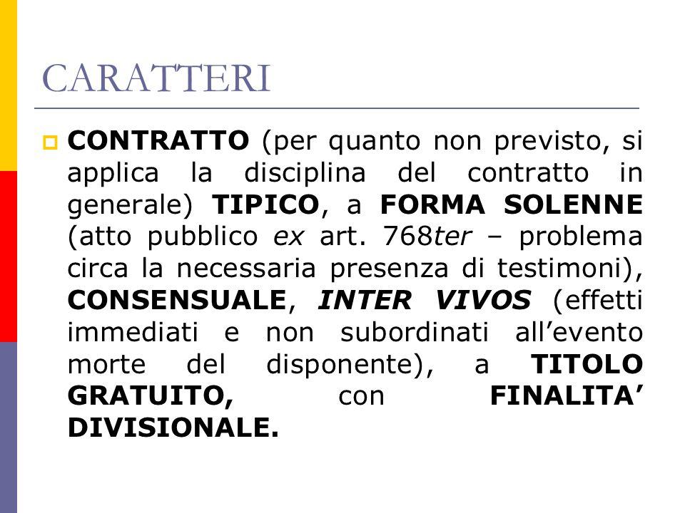 CARATTERI CONTRATTO (per quanto non previsto, si applica la disciplina del contratto in generale) TIPICO, a FORMA SOLENNE (atto pubblico ex art.