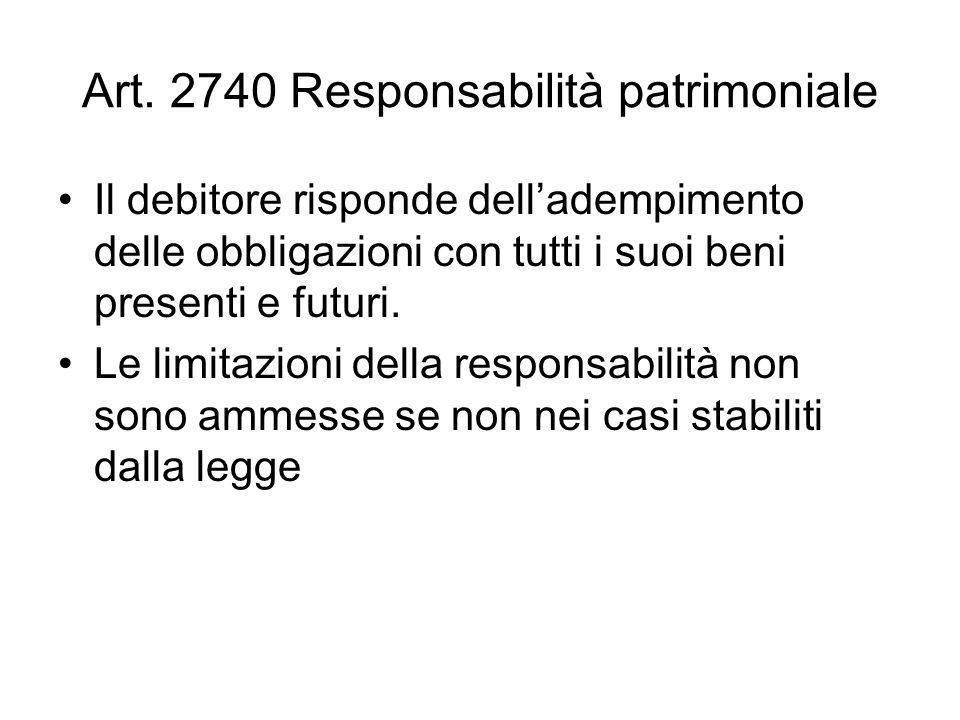 Art. 2740 Responsabilità patrimoniale Il debitore risponde delladempimento delle obbligazioni con tutti i suoi beni presenti e futuri. Le limitazioni