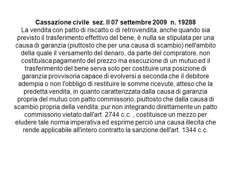 Cassazione civile sez.II 07 settembre 2009 n.