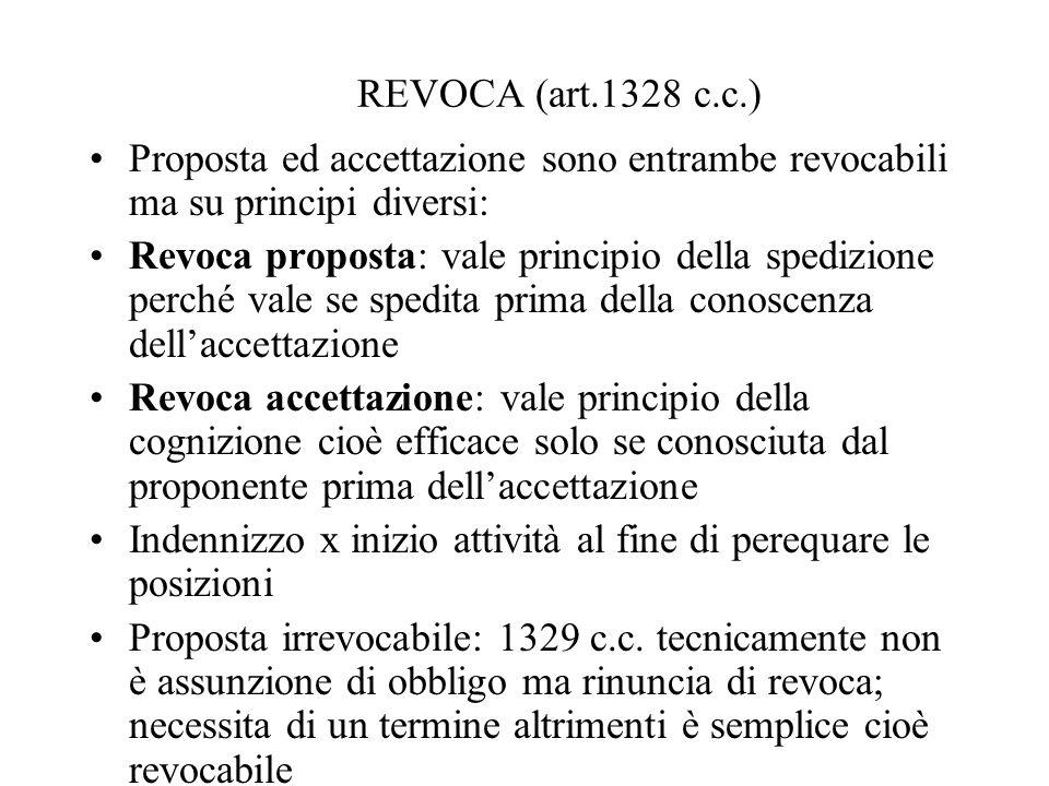 REVOCA (art.1328 c.c.) Proposta ed accettazione sono entrambe revocabili ma su principi diversi: Revoca proposta: vale principio della spedizione perc