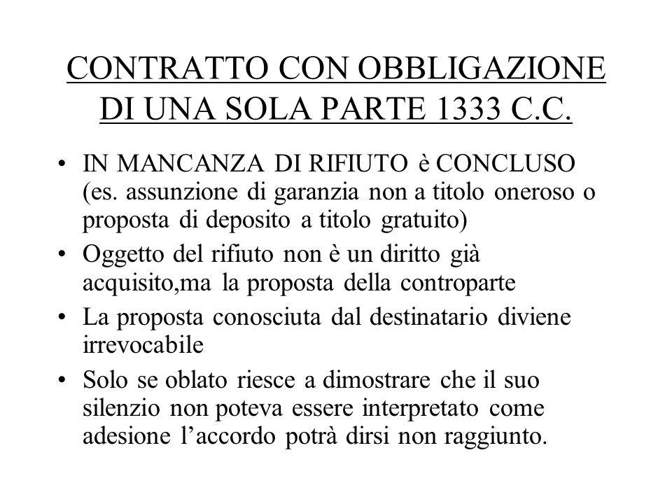 CONTRATTO CON OBBLIGAZIONE DI UNA SOLA PARTE 1333 C.C. IN MANCANZA DI RIFIUTO è CONCLUSO (es. assunzione di garanzia non a titolo oneroso o proposta d