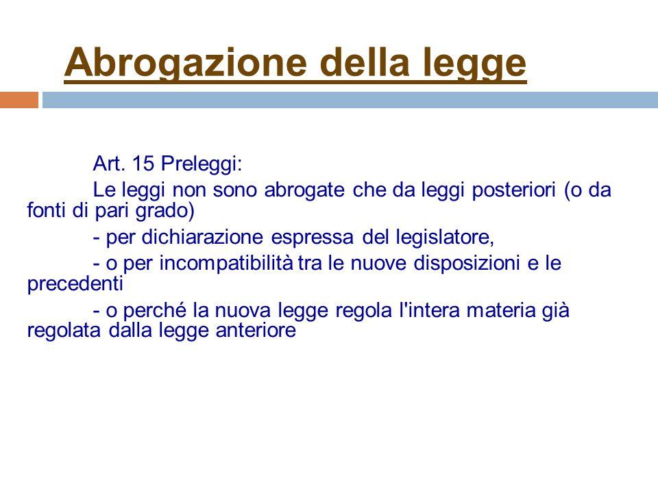 Abrogazione della legge Art.
