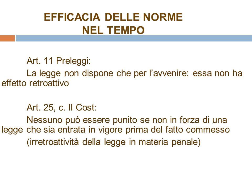 EFFICACIA DELLE NORME NEL TEMPO Art.