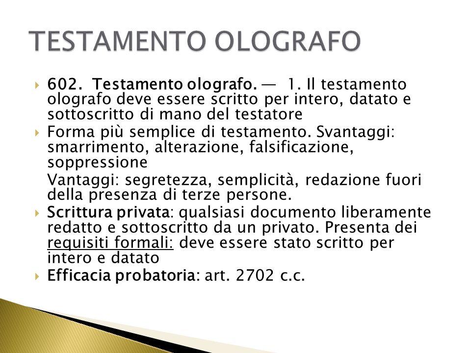 Olografia: scritturazione per intero di mano del testatore.