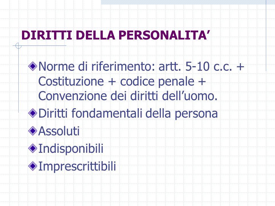 DIRITTI DELLA PERSONALITA Norme di riferimento: artt. 5-10 c.c. + Costituzione + codice penale + Convenzione dei diritti delluomo. Diritti fondamental