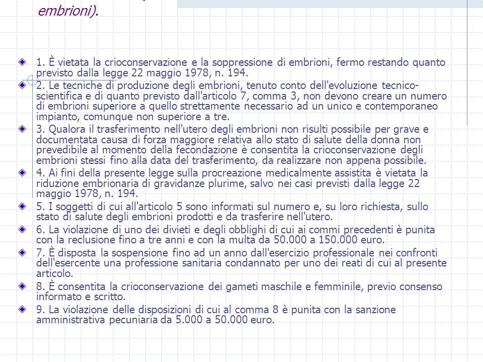 Art. 14 l.40/04 (Limiti all'applicazione delle tecniche sugli embrioni). 1. È vietata la crioconservazione e la soppressione di embrioni, fermo restan