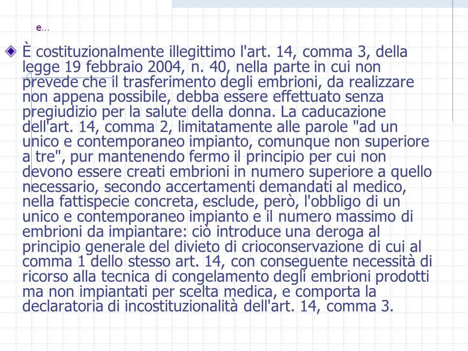 e… È costituzionalmente illegittimo l'art. 14, comma 3, della legge 19 febbraio 2004, n. 40, nella parte in cui non prevede che il trasferimento degli