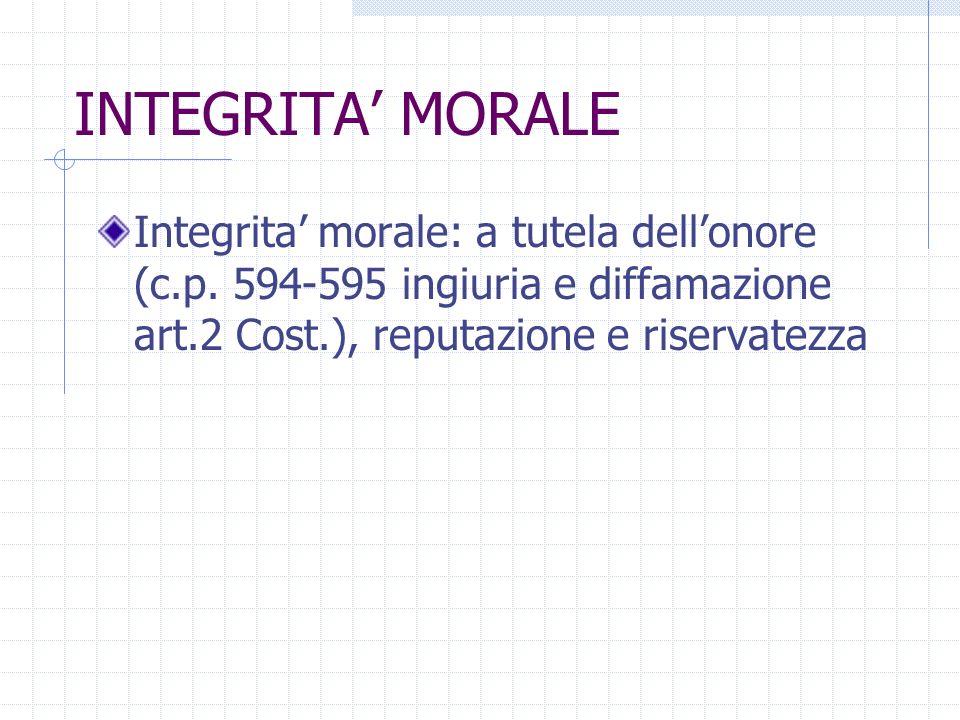 INTEGRITA MORALE Integrita morale: a tutela dellonore (c.p. 594-595 ingiuria e diffamazione art.2 Cost.), reputazione e riservatezza