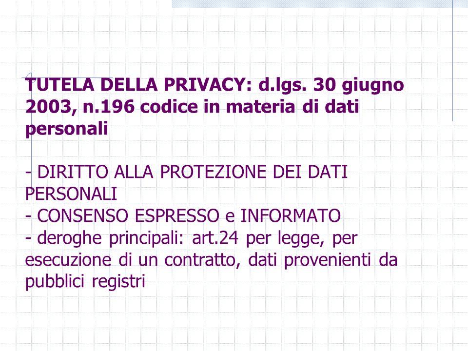 TUTELA DELLA PRIVACY: d.lgs. 30 giugno 2003, n.196 codice in materia di dati personali - DIRITTO ALLA PROTEZIONE DEI DATI PERSONALI - CONSENSO ESPRESS