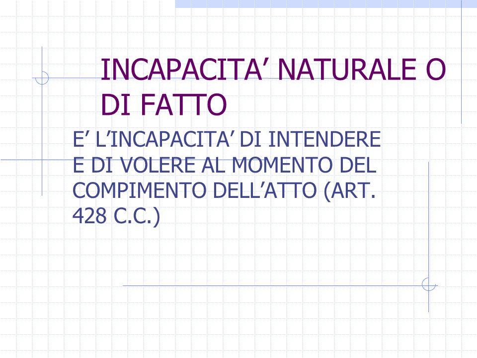 INCAPACITA NATURALE O DI FATTO E LINCAPACITA DI INTENDERE E DI VOLERE AL MOMENTO DEL COMPIMENTO DELLATTO (ART. 428 C.C.)