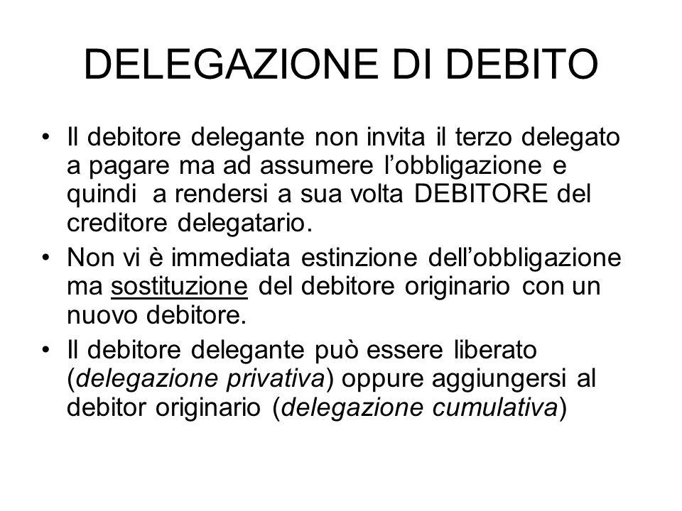 DELEGAZIONE DI DEBITO Il debitore delegante non invita il terzo delegato a pagare ma ad assumere lobbligazione e quindi a rendersi a sua volta DEBITOR
