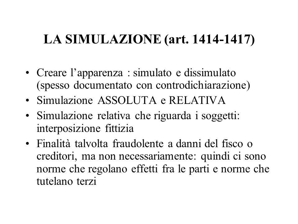 LA SIMULAZIONE (art. 1414-1417) Creare lapparenza : simulato e dissimulato (spesso documentato con controdichiarazione) Simulazione ASSOLUTA e RELATIV
