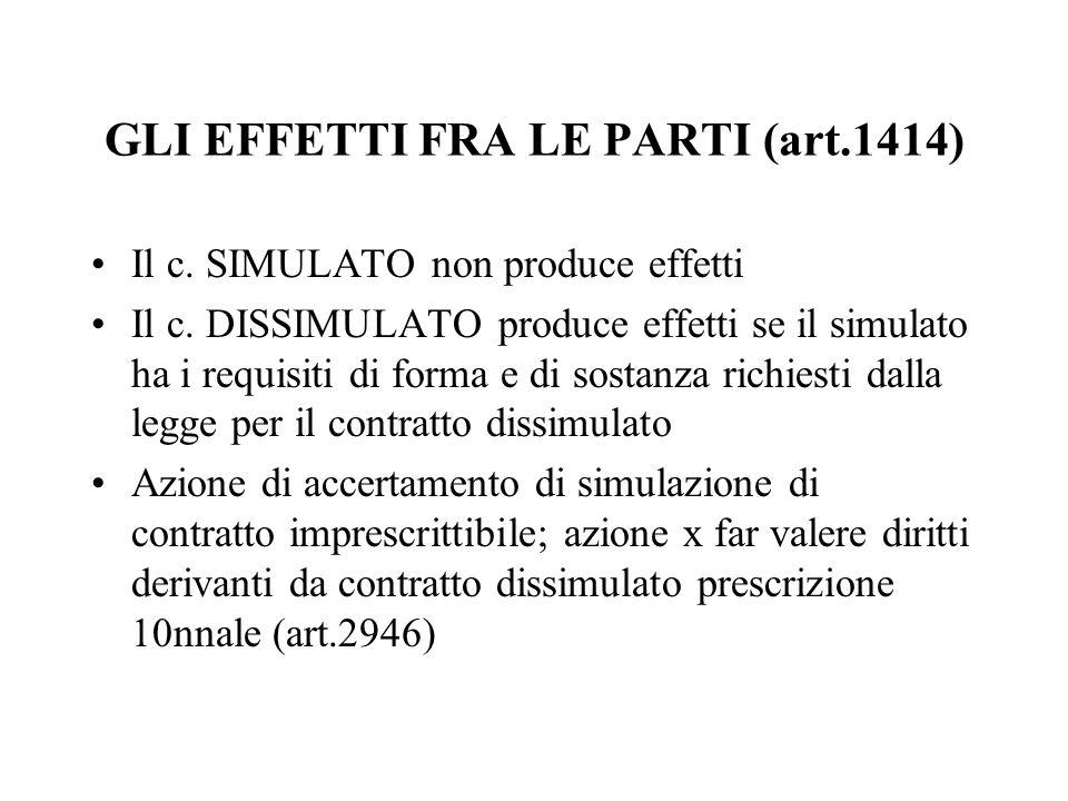 GLI EFFETTI FRA LE PARTI (art.1414) Il c. SIMULATO non produce effetti Il c. DISSIMULATO produce effetti se il simulato ha i requisiti di forma e di s