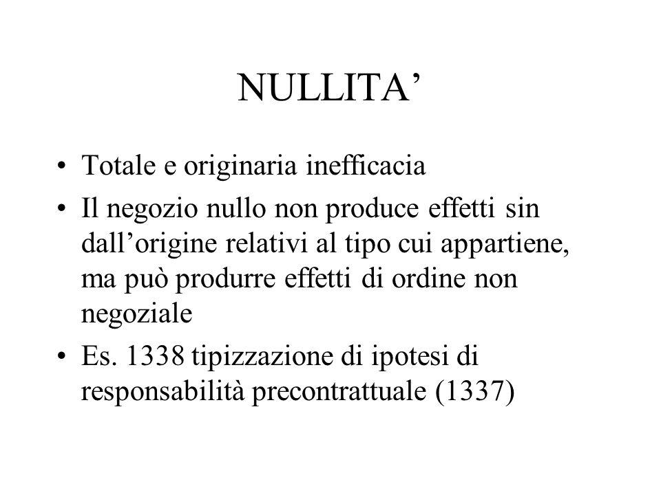 NULLITA Totale e originaria inefficacia Il negozio nullo non produce effetti sin dallorigine relativi al tipo cui appartiene, ma può produrre effetti
