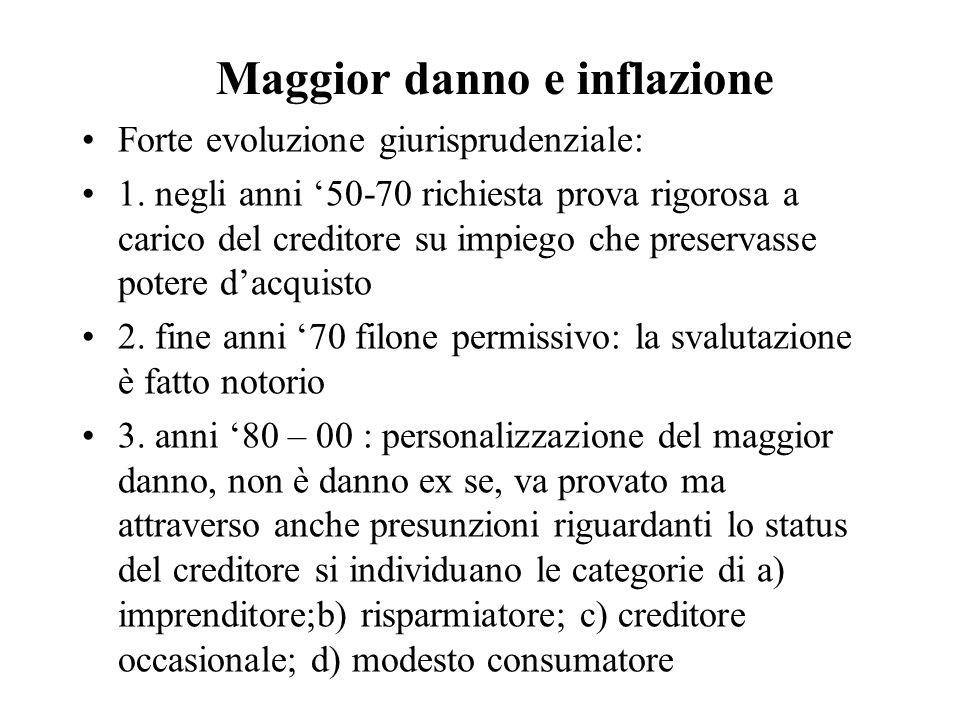 Maggior danno e inflazione Forte evoluzione giurisprudenziale: 1.