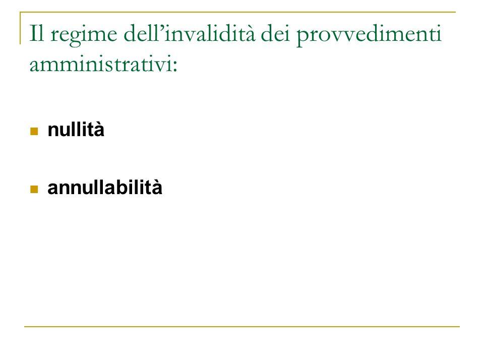 Il regime dellinvalidità dei provvedimenti amministrativi: nullità annullabilità