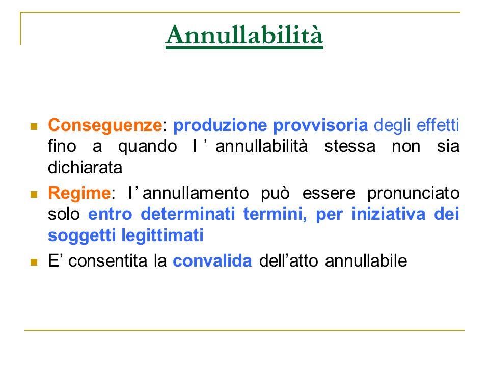 Annullabilità Conseguenze: produzione provvisoria degli effetti fino a quando lannullabilità stessa non sia dichiarata Regime: lannullamento può esser